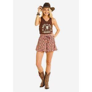 Rock & Roll Cowgirl Pink Snake Skin Print Shorts